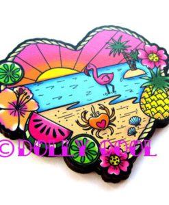 Tropical Beach Wood Brooch